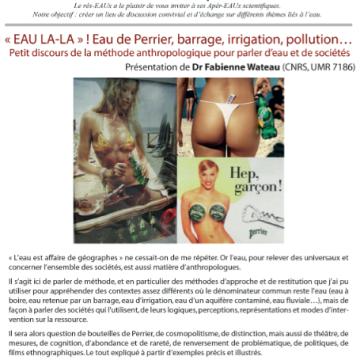 Rappel: 9ème Apér-EAU scientifique – Fabienne Wateau «EAU LA-LA» Péniche Antipode – Mardi 15 novembre 2016