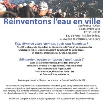 Conférence 4D – Réinventons l'eau en ville – 14 décembre 2016 – Pavillon de l'eau