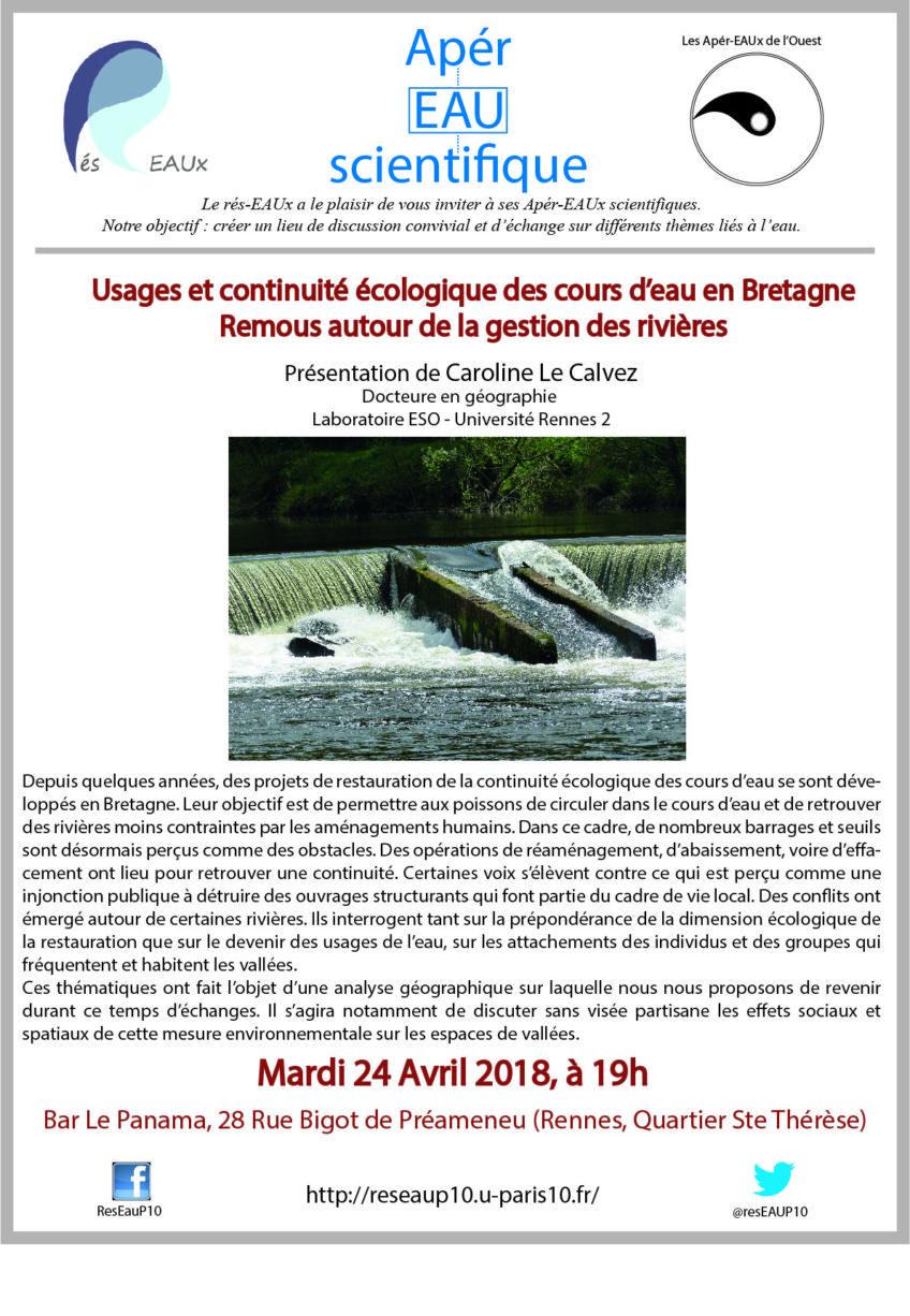 Rappel : deux apér-eaux en parallèle le 24 avril, à Rennes et Paris