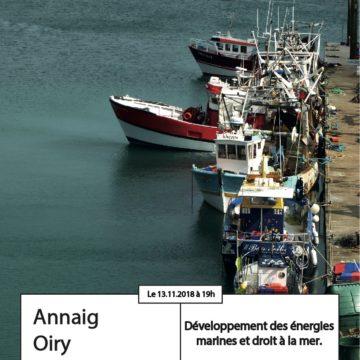 Apér-eau avec Annaig Oiry : Développement des énergies marines et droit à la mer – 13 nov. 2018