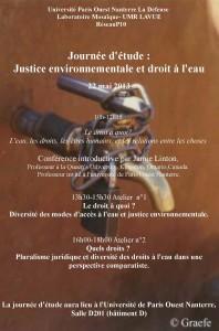 Justice environnementale et droit à l'eau programme de la journée du 22 mai
