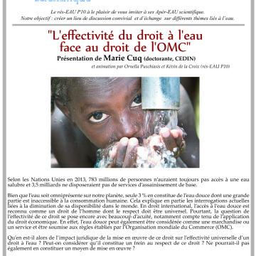 3éme apér-EAU scientifique : «L'effectivité du droit à l'eau face au droit de l'OMC», présentation de Marie Cuq (CEDIN), le lundi 3 juin 2013 à 17h30