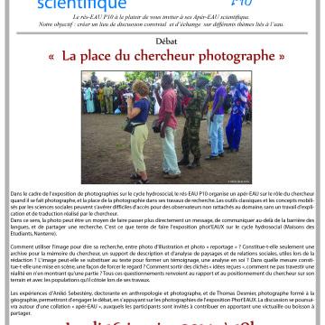 Apér-eau débat : Quelle place pour le chercheur photographe ?, le 16 janv à 18h, Nanterre