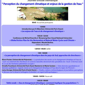 Journée d'étude «Perception du changement climatique et enjeux de la gestion de l'eau» – Université Paris Ouest – 30/11
