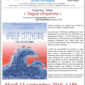 7ème Apèr-EAU scientifique : Projection « Vague Citoyenne », mardi 13 septembre 2016 à 18h