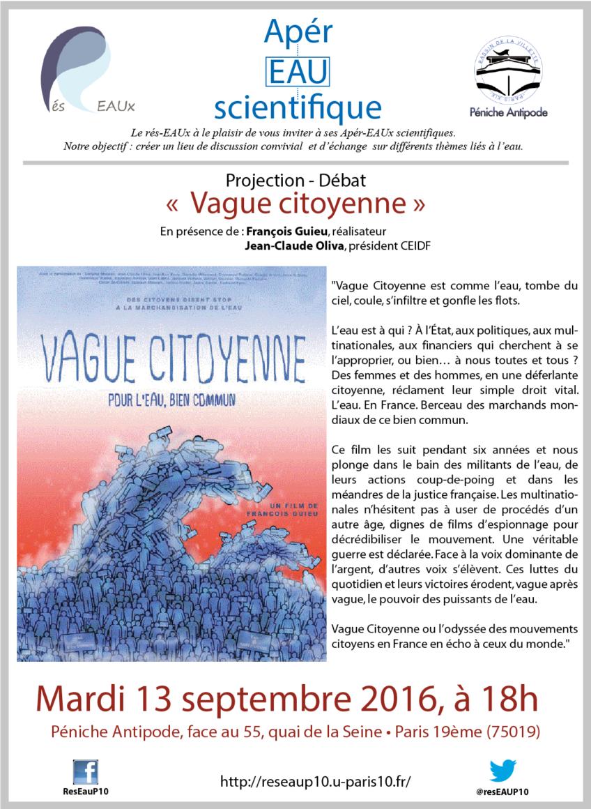 7ème Apèr-EAU scientifique : Projection «Vague Citoyenne», mardi 13 septembre 2016 à 18h