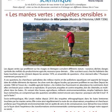 8ème Apér-EAU scientifique – Alix Levain – Marées vertes – Péniche Antipode – Lundi 24 octobre 2016
