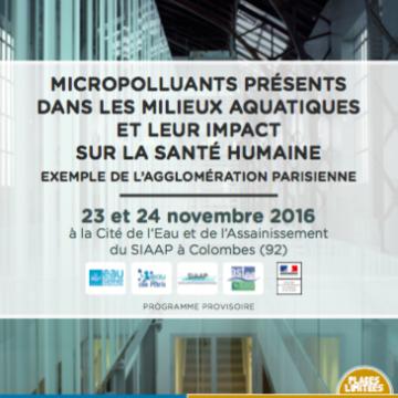 Conférence 'Micropolluants présents dans les milieux aquatiques et leur impact que la santé humaine' le 23 et 24 novembre