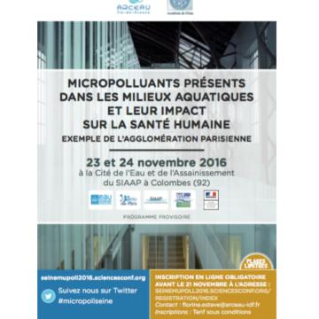 Conférence «Micropolluants présents dans les milieux aquatiques et leur impact sur la santé humaine» – 23/11/16 et 24/11/16