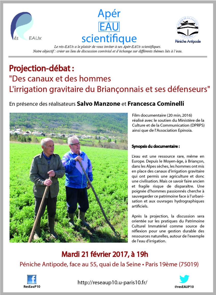11e apér-eau : Projection-débat «Des canaux et des hommes», le 21 février 2017 à 19h