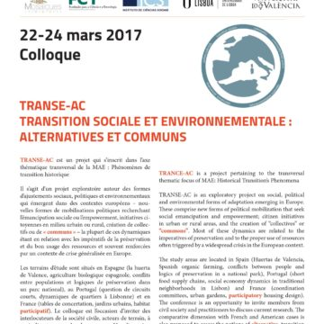 Colloque international « Transition sociale et environnementale : alternatives et communs » du 22 au 24 mars 2017 à l'université Paris Nanterre