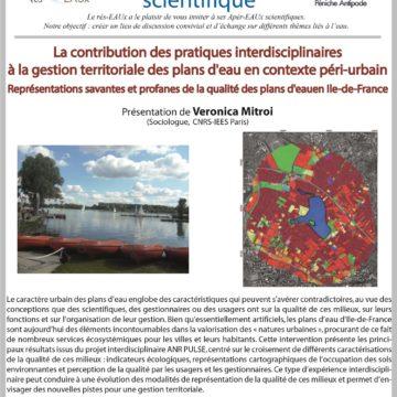 Apér-EAU scientifique de la rentrée: Veronica Mitroi – Mardi 26/09/2017 à 19h00 sur la Péniche Antipode (19e arrondissement Paris)