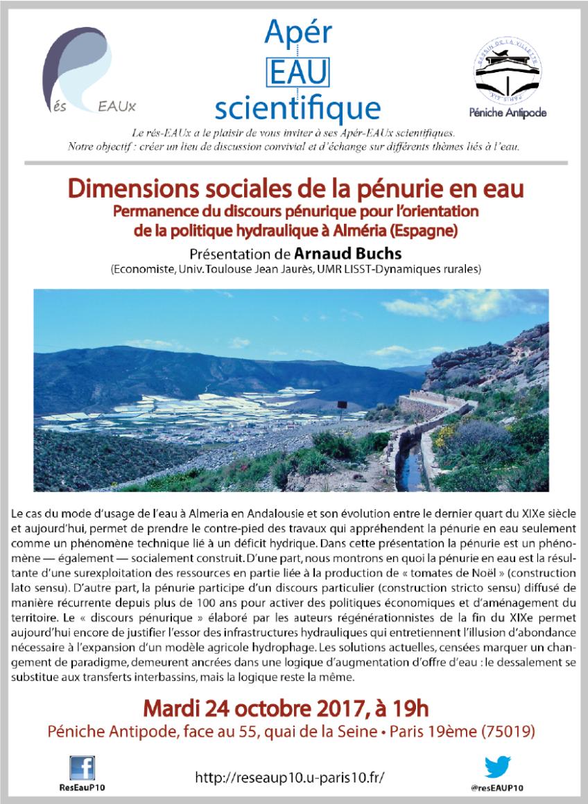 2e Apér-EAU scientifique : Arnaud Buchs – 24 octobre 2017 – Péniche Antipode