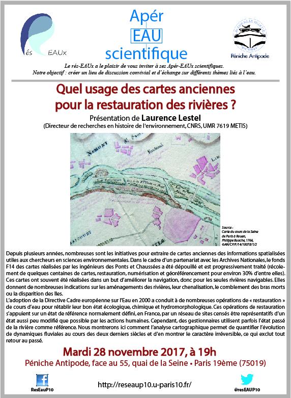 3e Apér-EAU scientifique : Laurence Lestel – 28 novembre 2017 – Péniche Antipode