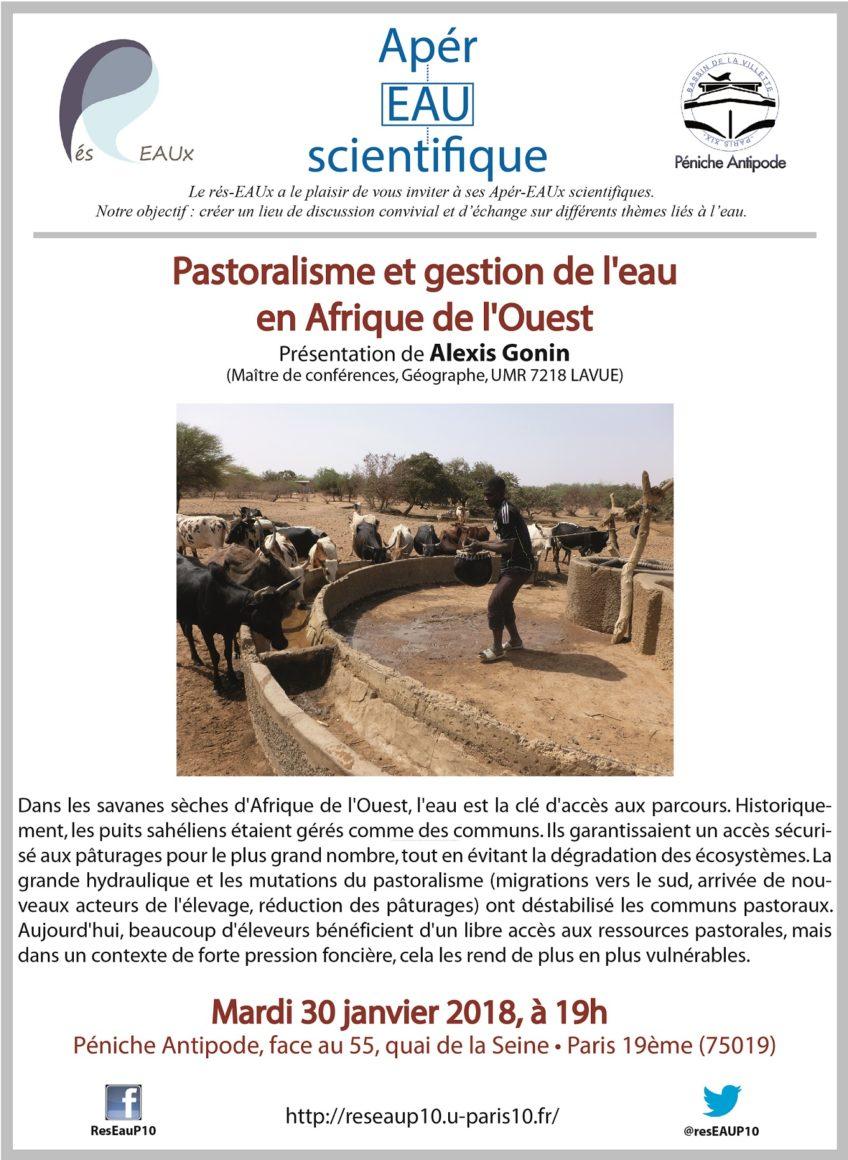 4e apér-eau scientifique avec Alexis Gonin le 30 janvier 2018 : Pastoralisme et gestion de l'eau en Afrique de l'Ouest