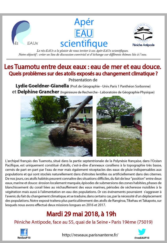 8e Apér-Eau scientifique : «Les Tuamotu entre deux eaux» – Lydie Goeldner-Gianella et Delphine Grancher – 29 mai 2018