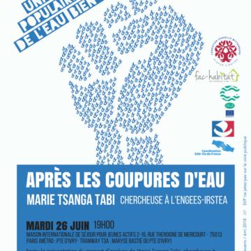 Conférence-débat «Après les coupures d'eau, quelles relations entre usagers et distributeurs ?», mardi 26 juin à 19h00