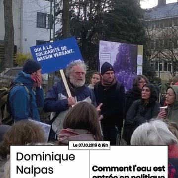 Apér-EAU scientifique : «Comment l'eau est entrée en politique à Bruxelles ?», Dominique NALPAS, lundi 7 octobre 2019