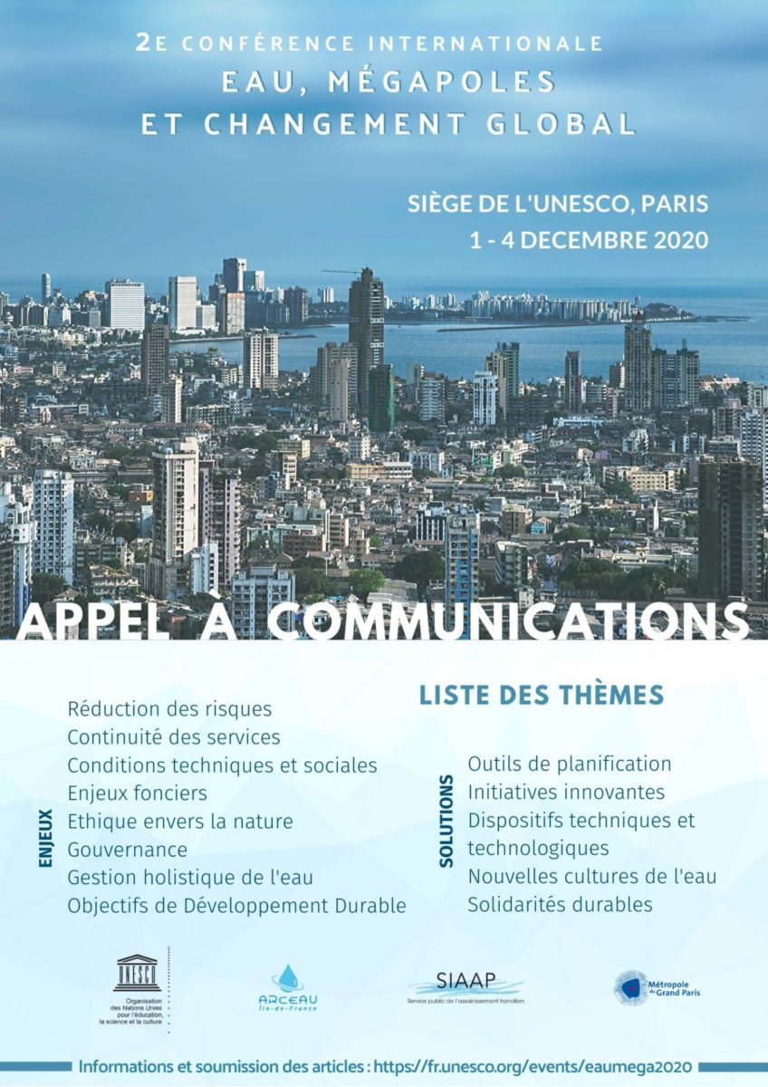 Prolongation de l'appel à communications – EAU, MÉGAPOLES ET CHANGEMENT GLOBAL – 1-4 décembre 2020 – Paris