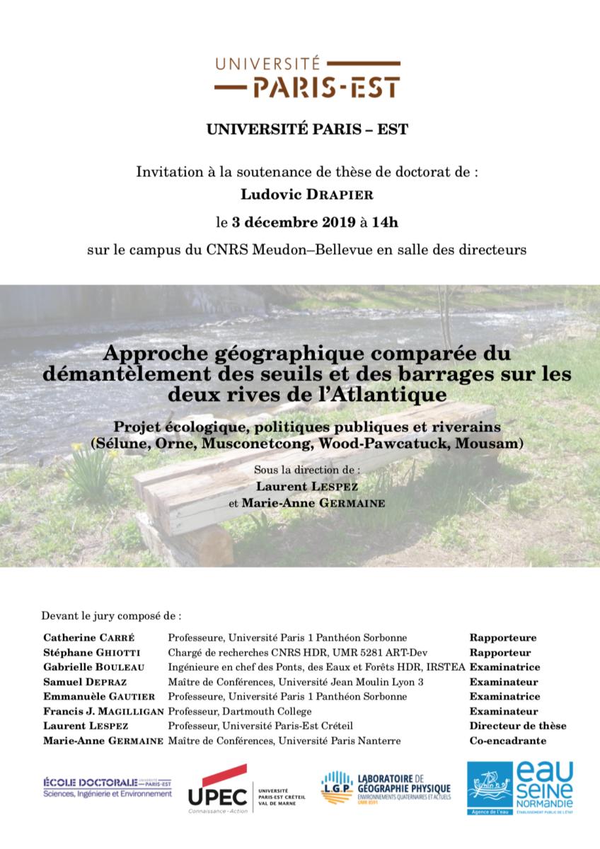 Soutenance de thèse de Ludovic Drapier le 3 décembre 2019