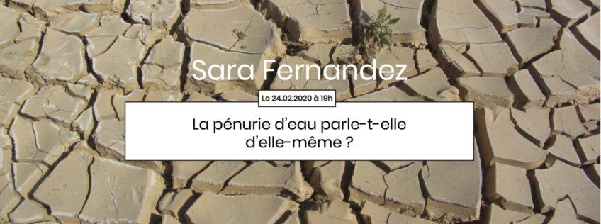4ème Apér-EAU scientifique, 24 février 2020, 19h : « La pénurie d'eau parle-t-elle d'elle même ? » par Sara Fernandez