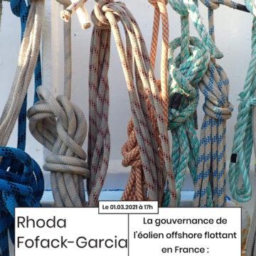 4ème Apér-EAU scientifique de cette saison, 01 mars 2021, 17h : « La gouvernance de l'éolien offshore flottant en France : cartographie d'acteurs, réseaux et controverses » par Rhoda Fofack-Garcia